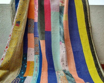 Collectors item!! Vintage kantha quilt /India/ throw/ blanket/ coverlet/ Sari quilt/ Gudri/ handmade/ rug/ accent/ bedding/ home decor!!