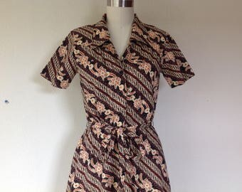 1970s Ethnic print cotton shirtdress