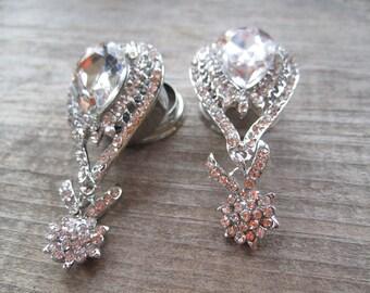"""Luxuriously Fancy Wedding EAR PLUGS dangle stretched earrings gauge size - 9/16"""", 5/8"""", 1 1/16"""", 11/16"""", 13/16"""" AKA 14mm, 16mm, 18mm, 20mm"""