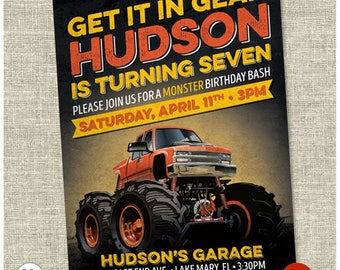 Monster Truck Birthday Invitation - Boy Monster Truck Birthday Invite - Printable