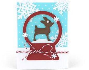 Reindeer Snow Globe Card , Snowflakes , Holiday , Christmas