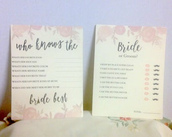 Bridal Shower Game Cards , Wedding , Roses , Questions ,  Bride , Groom , Bridal Luncheon , Trivia