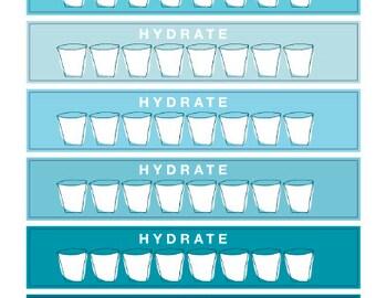 Water Tracking Stickers , Set of 24 , Journals , Calendar , reminder , Labels , Refresh , Drink , Glasses