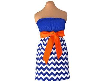 Orange + Blue Chevron Game Day Dress