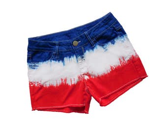 Red + Navy Tie-Dye Shorts