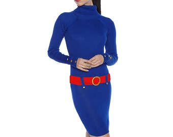 Blue + Red Sweater Dress
