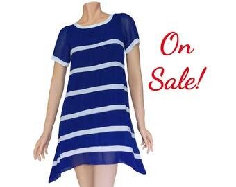 Blue and White High-low Chiffon Dress