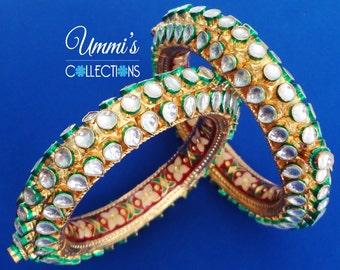 Gold Plated Minakari Kundan Bangles Jewellery