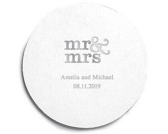Mr and Mrs Print Coasters - 100 Round Coasters - Custom Coasters - Engagement Party - Anniversary - Milestone - Mr and Mrs
