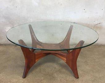 Vintage Mid Century Round Glass & Walnut Coffee Table (HJZHGZ)