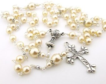 First Communion Rosary - Cream Pearl Five Decade Catholic Rosary Beads - Personalized Rosary Name Rosary Catholic Gift First Communion Gift