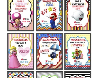 Printable Valentines, Super Mario Valentines, Printable Valentines,super Mario Cards, Mario  Instant Download, Kids Valentines, Mario party