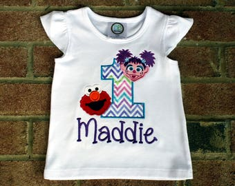 Abby Cadabby and Elmo 1st Birthday-First Birthday T-Shirt~Personalized Embroidered