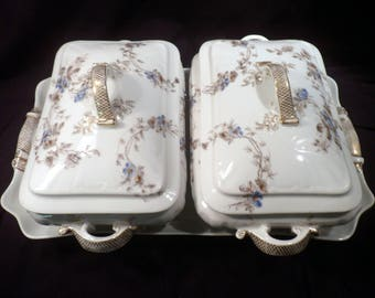 Very Rare Pair Antique Haviland Limoges Lidded Servers and Large Tray, CFH/GDM 1882-1890