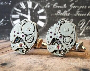 Silver Cufflinks, Steampunk, Cufflinks Watch Part Cufflinks, Waltham Watch, Steampunk Jewelry, Watch Movements, Silver Watch, Waltham