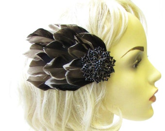 Navy Blue Black Mallard Duck Feather Hair Clip Fascinator Vintage Races 40s 1631