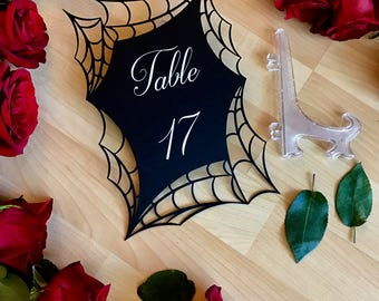 Laser Cut Table Numbers in spiderweb with easels included