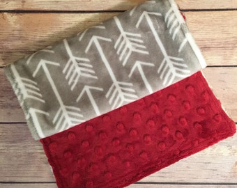 Arrows Burpcloth Crimson Red and Gray Burp Cloth Hunter Burp Cloth Arrow Theme Set Available Mix and Match  Made to Order