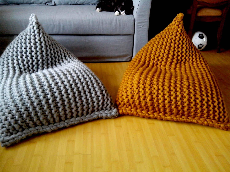 Chunky Wool Knit Grey / Mustard Kidsu0027 Bean Bag / Bean Bag Chair / Nursery