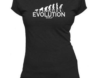 Evolution to Golf. Ladies fitted t-shirt.