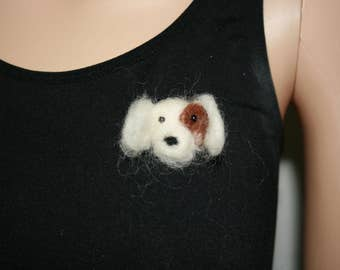 Needle Felted Dog Brooch. One of a kind OOAK Wearable Art. Ready to send. Great Gift!