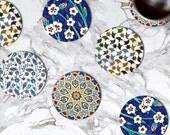 Marble Coasters Moroccan Set 4 Turkish Glass Coaster Kitchen Decor Housewarming Gift Idea Accessories Bar Drink Coasters Mom Gift Birthday