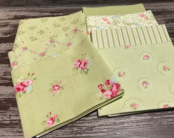 "Floral Fabric, Moda, ""Caroline"" by Brenda Riddle Designs,  7 Piece Fat Quarter Bundle in Pale Green, Cotton"
