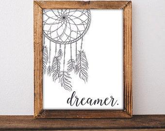 Dreamcatcher Wall Art Print - Dream catcher poster - Nursery Art Bedroom Art 8x10 Digital Download Printable Art Print