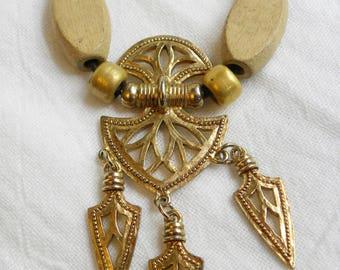 JJ necklace, Jonette Jones gold tone tribal necklace, vintage JJ necklace, vintage gold tone JJ pendant necklace with dangle charms, jj