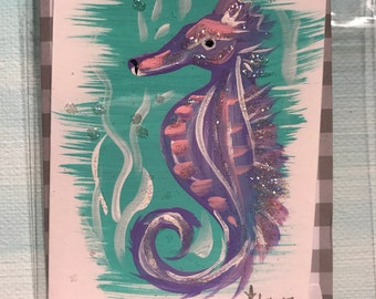 "Seahorse2""x3""Mini Greeting Card with pocket envelope and closure sticker"