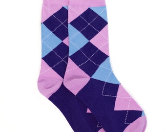 Pink Blue Argyle Socks - Argyle Socks. Mens Socks. Mens Dress Socks. Wedding Socks. Groomsmen Socks. Fun Socks. Colorful Socks. Socks