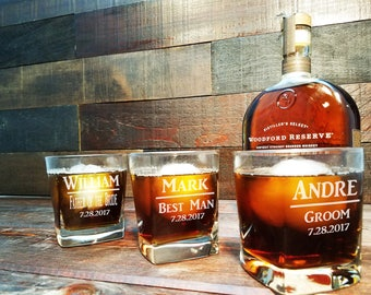 Square Whiskey Glasses, Groomsmen Gifts, Whiskey Glasses Personalized, Custom Engraved Rocks Glass, Scotch Glass, Groomsman Gift Set