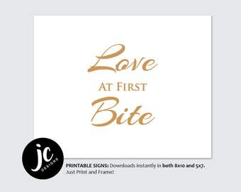 Love at First Bite // Table Wedding Sign // Printable // Gold Wedding Signs // DIY Instant Download