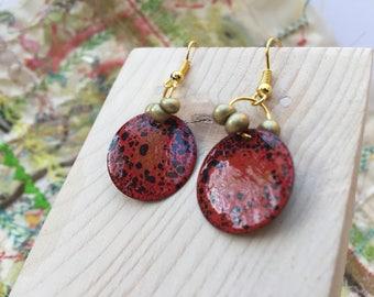 Orange Enamelled Earrings, Enamel Earrings, Artisan Earrings, Boho Earrings, Earrings dangle, Gold Plated Earrings, Round Earrings