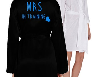 Personalised 'Mrs In Training' Gown - white & black, various text colours. Perfect Hen Party/Wedding gift! (PDG114)