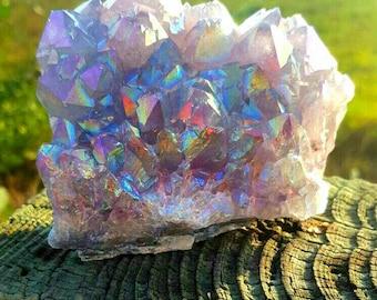 Unicorn Angel Aura Amethyst Cluster ~ For A Deeper Spiritual  Connection To The Divine,Hidden Treasures,Rainbow Magick