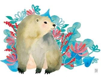 Bear Art print. Nursery  wall art, nursery art print, nursery art, sweet teddy bear, kitsch decor, kids room decor, kids art