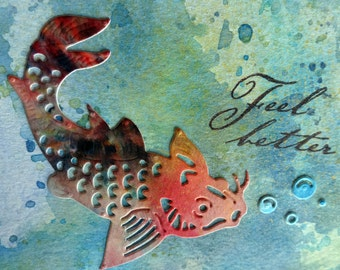 "Koi ""Feel better"" card with distress inks watercolor background"