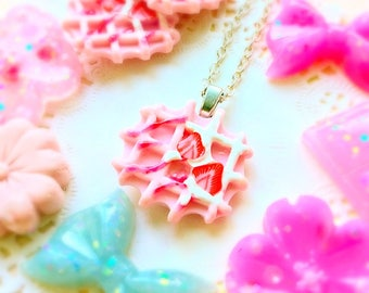 Handmade pink waffle necklace Strawberry waffle necklace Food necklace Food jewelry Dessert jewelry Kawaii jewelry Girly gift Cute necklace