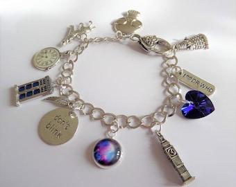 doctor bracelet, who fan gift, doctor charm bracelet, tv jewellery, time lord jewellery, universe, space, fan gift, dont blink