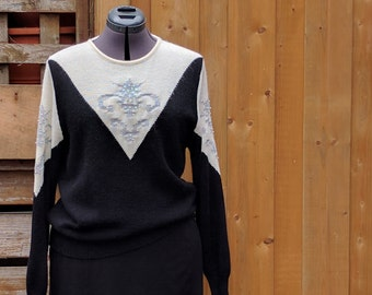 Vintage 1980s MARELLA black and white with silver detail acrylic and rayon sweater