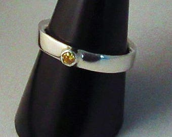 Sterling Silver Tube Set Ring
