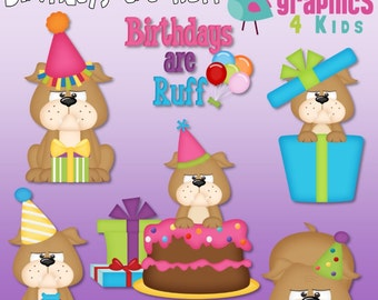 Birthday are Ruff Digital Clipart - Clip art for scrapbooking, party invitations - Instant Download Clipart Commercial Use