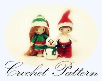 PATTERN: Amigurumi Pattern, Santa Tutorial, Crochet Elf Pattern, Tiny Snowman, Christmas Pattern, Elf and Santa Pattern (English Only)