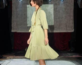 Sage Summer Dress, oversized dress, pistachio dress, loose fitting dress, rayon dress, onesize dress, summer coat, ruffle dress