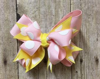 Baby Girl Bow, Baby Girl Hair Bow, Girl Pink Bow, Girl Hair Bow, Pink Hair Bow, Boutique Bow, Boutique Hair Clip, Yellow Hair Accessory