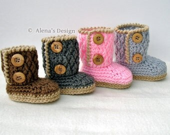 Crochet Bootie Pattern - Two-Button Baby Booties - Crochet Pattern - Baby Booties Pattern - Baby Boy Booties - Baby Girl - Winter Slippers