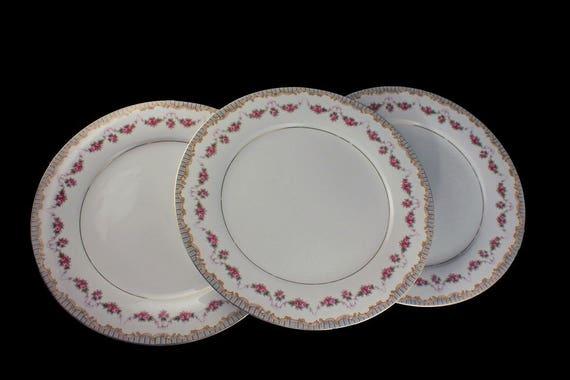 Dinner Plates, Noritake, Ridgewood Pattern, Floral Design, Fine China, Rose Swag Pattern, Set of 3