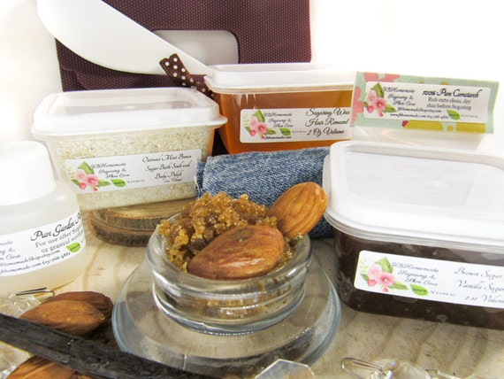 Natural Almond Brown Sugar Scrub Sugaring Wax Deluxe Starter Kit