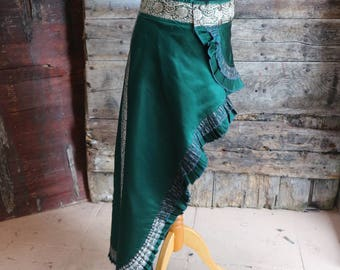 New! S-M, GREEN TEMPLE,  Short Long, Adjustable, Silk Sari, Tribal, Burning Man, ATS, Belly Dance, Bohemian, Steam Punk,Skirt, Long Skirt,
